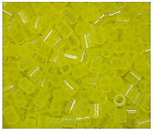 1000 Perler Yellow Glitter Color Iron on Fuse beads NEW