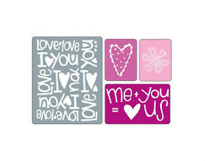 Sizzix 4PK Embossing Folders  - Love Set #2 - $12