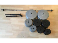 Barbell, Dumbell and Weight Plates (90kg total weight)
