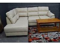 Real leather cream corner sofa