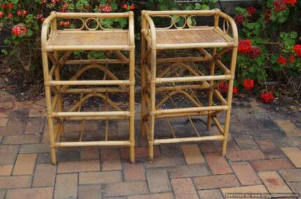 pair of Hamptons Cane Good Condition Decor Bedside Tables French
