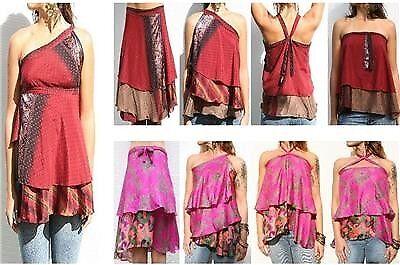 100 LOT VINTAGE SARI MAGIC SILK WRAP SKIRTS SUMMER BEACH COVER UP DRESS DRESSES