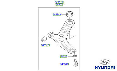 Genuine Hyundai Ioniq Front Lower Suspension Arm, LH - 54500G2100
