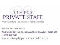 Professional Housekeeping Couple, Live-in, Private Home in Zone 1, £48k pa, Interviews now.