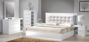 MODERN WHITE 6PCS.  QUEEN BEDROOM SET | WHITE MODERN BEDROOM SET (GL2207)