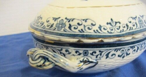Antique Minton China Moustiers Covered Oval Serving Dish Blue White - $19.99