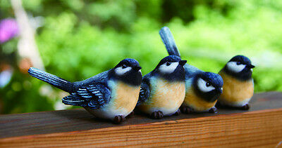 Mini Resin Chickadee Bird Figurine Set of 4
