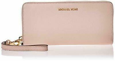 Michael Kors Soft Pink Saffiano Leather Continental Zip Purse Wallet Wristlet