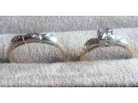 Fabulous Art Deco 14 kt Gold and Diamond Wedding Ring Set