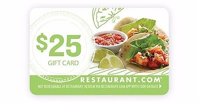 25 Restaurant Com Gift Card  Free Shipping   No Expiration