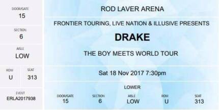 DRAKE: 4 x GOLD RESERVED SEATING- SATURDAY 18th NOV SOLD OUT