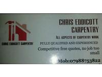 CARPENTER EXPERIENCED AND FULLY QUALIFIED CARPENTER AVAILABLE.