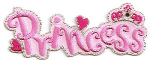 PRINCESS-Pink-Text-Embroidered-Iron-On-Applique