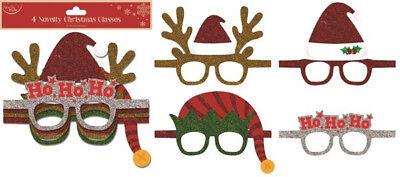 Neuheit Glitzer Weihnachten Gläser 4 Pack Slefie Foto Requisite Tischdeko
