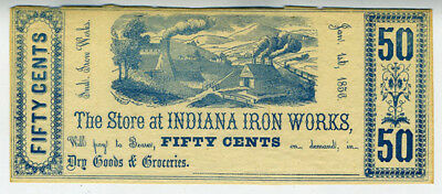 Rare 1856 Indiana Iron Works 50 Cent Currency Scrip