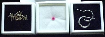 White 50 Glass Top Gem Boxes W Reversible Pad 1 Inch