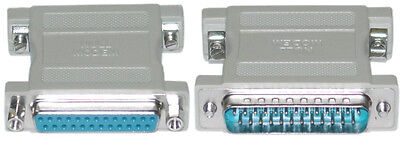 Male Null Modem Adapter (DB25 Male~Female Null Modem Nul/Cross Serial RS232 gender changer)
