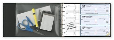 7 Ring 3 On  A Page Business Check Book Binder With Vinyl Pouch Burgundy