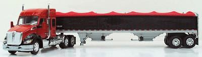 """1/64 DCP KENWORTH T680 52"""" Mid-Roof (Red/Black Fenders) w/Black Wilson Grain Trl"""