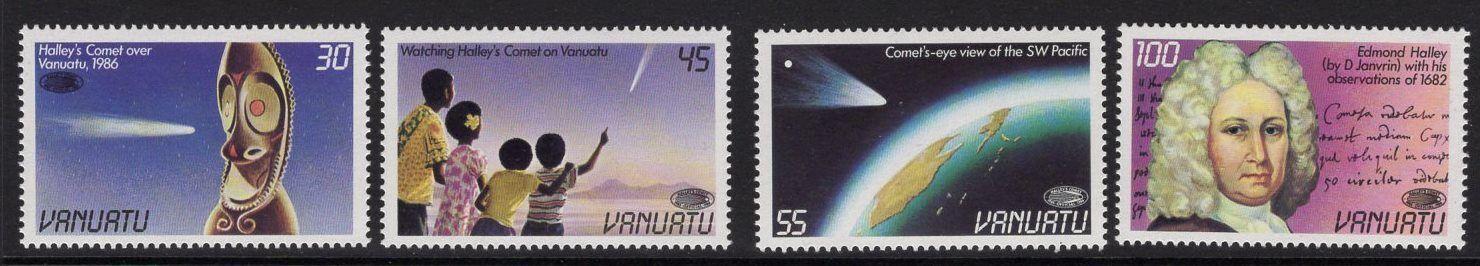 VANUATU SG438/41 1986 HALLEY''S COMET MNH