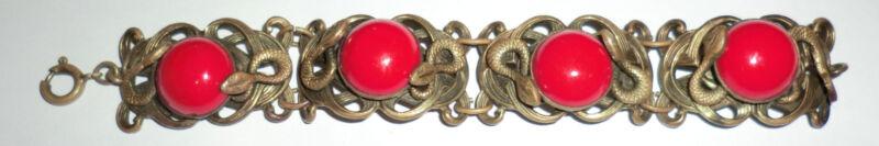 Vintage Czech Brass Red Glass Stone Bracelet Snakes Serpents Egyptian Revival