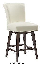 3 RollBack Swivel Kitchen Counter Stool in Ivory Leather on SALE