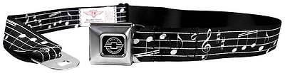 Seatbelt Men Canvas Web Military Chevy Chevrolet Music Notes Black White