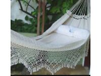 White 100% cotton double hammock handwoven by artisans Guajira Colombia - New