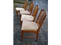 Retro 4 dining chairs in mahogany. Four upholstered chairs.