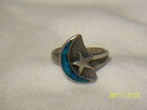 Vintage Sterling Silver Moon & Star Ring,Size 5.5,USA Esatate