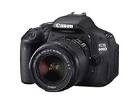 Canon 600d with kit lens 18-55mm, battery grip and four batteries!