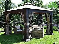 Beautiful rattan gazebo with curtains