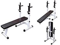 FOLDING BENCH + FREE WEIGHTS