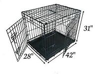 Ellie-Bo Dog Cage Folding 2 Door Crate with Non-Chew Metal Tray Extra Large 42-inch Black