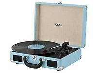 Akai Retro A60011NB Bluetooth Rechargeable Record Player Blue 3 Years Warranty