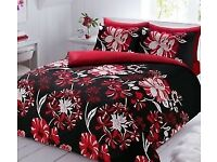 Brand new floral high quality red and black king size bedding set