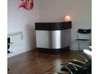 Salon reception desk/ footrest x4/ tinting trolley x2