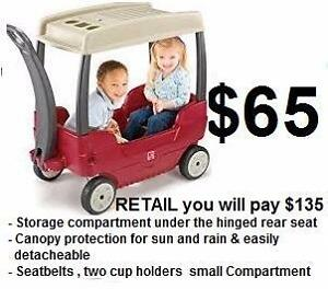 2 seater wagon $65 Deluxe Ride Relax Step2 Wagon removable Canopy Roof