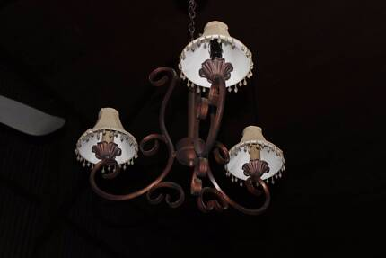 3 x  rustic chandeliers with shades