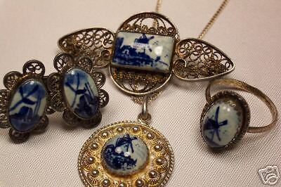 VINTAGE STERLING SILVER DELFT PARURE PIN RING EARRING +