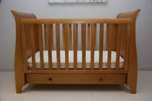 Kingparrot Sleigh Cot/Junior Bed with Mattress and 4 Drawer Chest Golden Grove Tea Tree Gully Area Preview