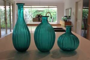3 blue glass vases Iluka Joondalup Area Preview