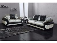"""❤Finest Quality❤Real Comfy❤ New """"Double Padded"""" Dino Diamond Crushed Velvet Corner Sofa Or 3+2 Sofa"""