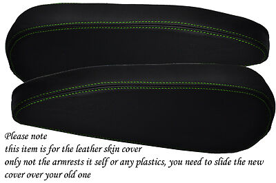green stitch FITS CITROEN C4 PICASSO 2006+ 2X FRONT SEATS ARMREST LEATHER COVER