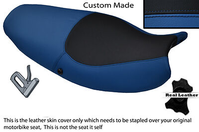 BLACK AND BLUE CUSTOM FITS TRIUMPH SPRINT ST 955 I 99 04 LEATHER SEAT