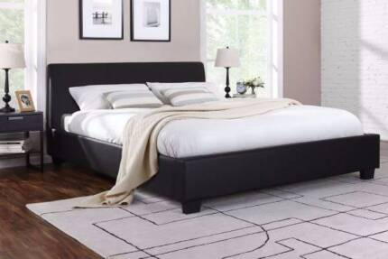 6xbrand new black leather modern design queen size bed with used