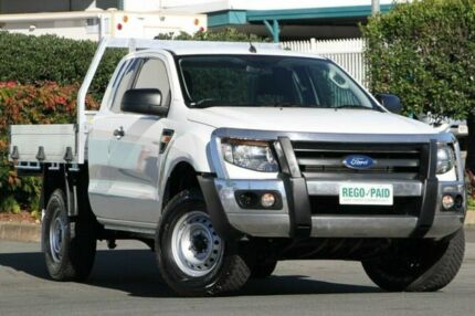2013 Ford Ranger PX XL Super Cab 4x2 Hi-Rider Cool White 6 Speed Sports Automatic Cab Chassis