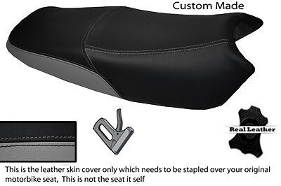 BLACK AND GREY CUSTOM FITS <em>YAMAHA</em> YBR 125 05 09 DUAL LEATHER SEAT COVE