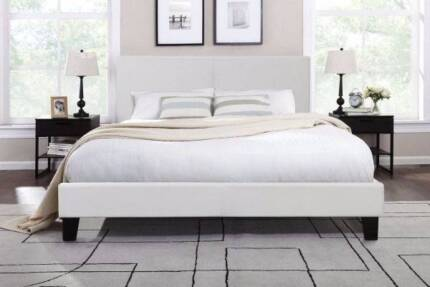 6x brand new white leather modern design queen size bed with used