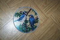 "Blue Jays stained glass 6.5"" sun catcher round in ring bluejays"